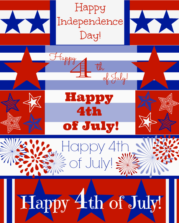 4th of July Water Bottle Wrappers Printables