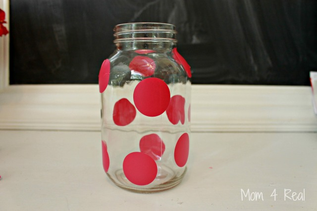Frosted Mason Jar Vase Polka Dots