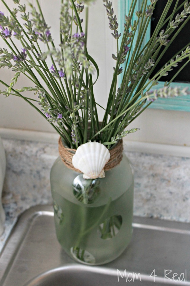 Frosted Mason Jar Vase With Seashell Embellishment