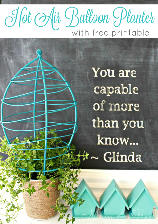Hot Air Balloon Planter and Free Chalkboard Printable