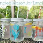 Stenciled Mason Jar Tumblers