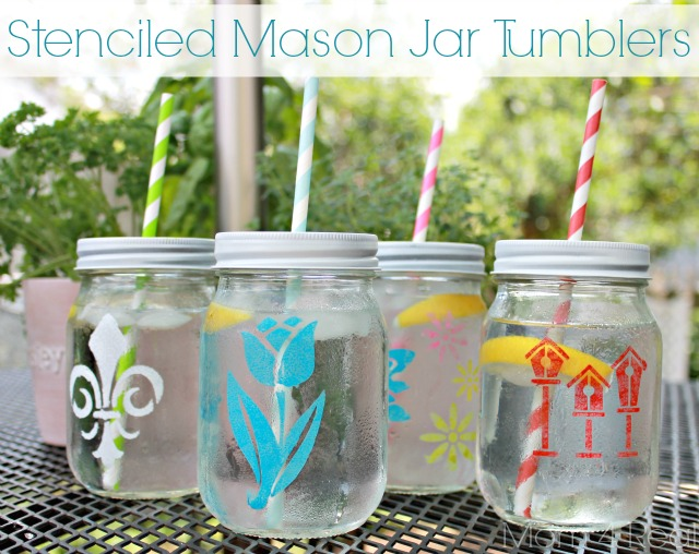 Stenciled Mason Jar Tumblers ~ Mom 4 Real