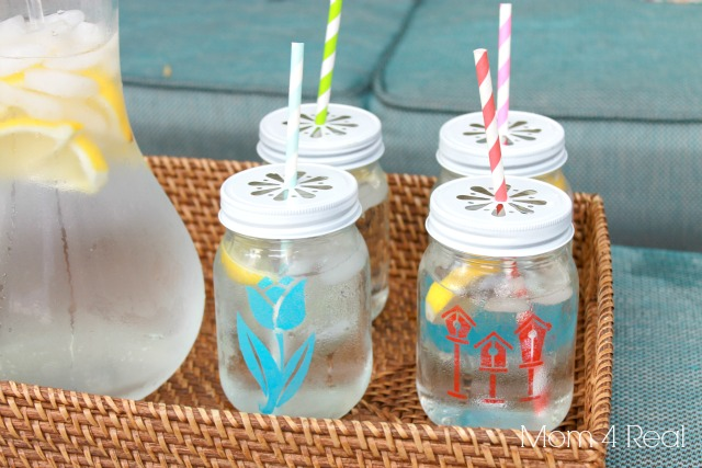 Stenciled Mason Jar Tumblers are too cute