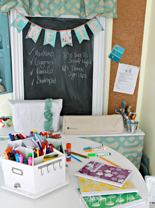 Homework Station with Chalkboard and Cork Board