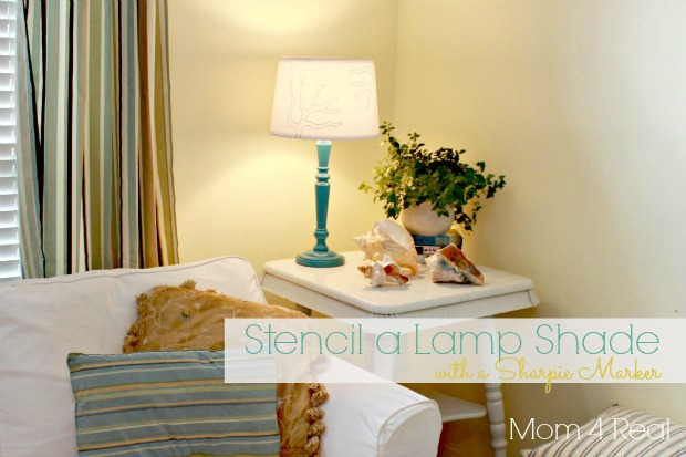 Stencil a lampshade with a sharpie marker