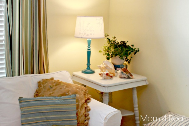 Stenciled Lamp Shade With Coral