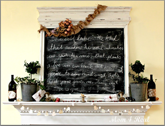 Mirror Turned Chalkboard Mantel Decor