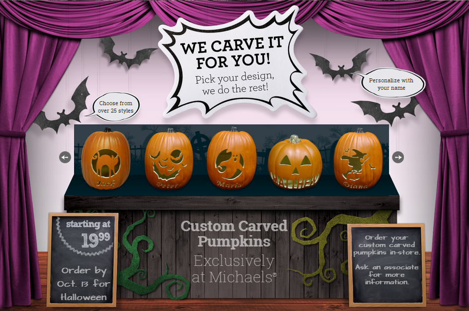 Custom Carved Pumpkins Available at Michaels Stores