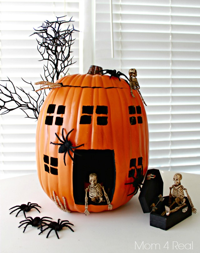 haunted house skeleton pumpkin made with a foam pumpkin - Pumpkins Decorations