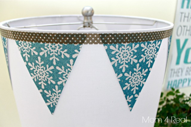 Lamp Shade Embellished With Snowflake Banner and Washi Tape