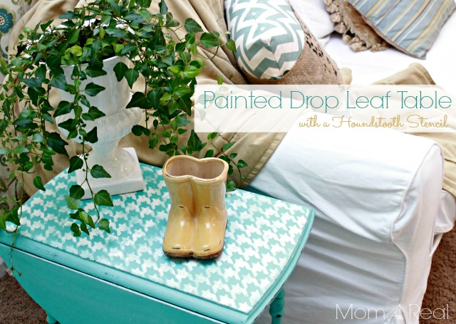 Houndstooth Stenciled Drop Leaf Table
