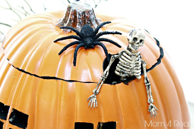 Skeleton Haunted House Pumpkin Made With Foam Pumpkin