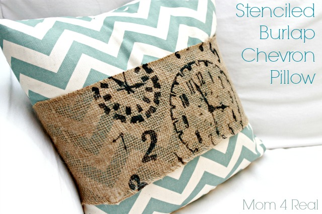 Stenciled Burlap Chevron Pillow from Mom 4 Real