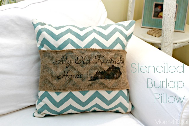 My Old Kentucky Home Stenciled Burlap Pillow
