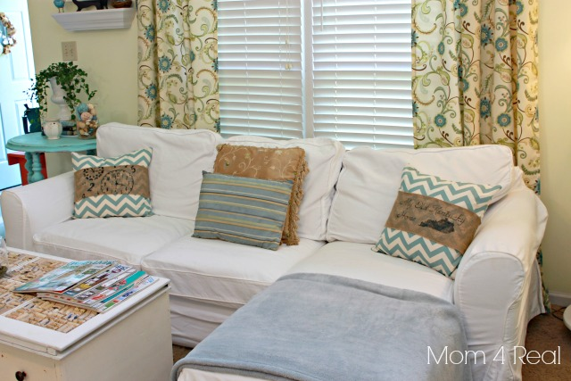Stenciled Burlap and Chevron Pillow