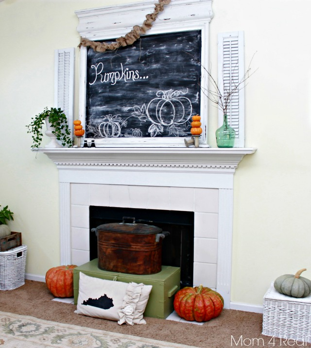 Autumn - Fall Mantel at Mom 4 Real