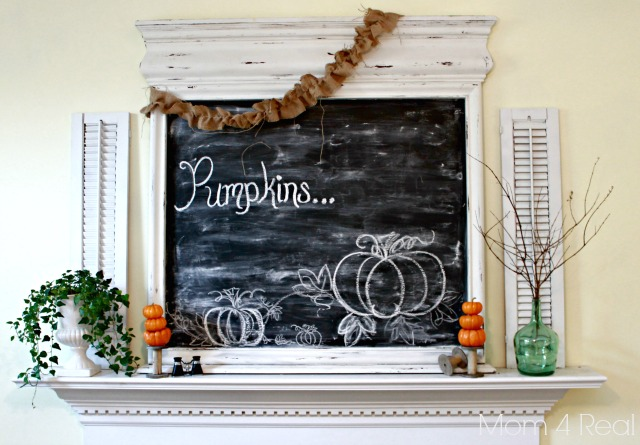 Fall Mantel Decor with Pumpkins and a Chalkboard