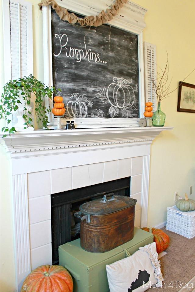 Fall Mantel With Chalkboard