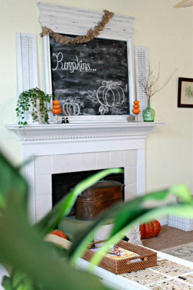 Fall Mantel With Large Chalkboard