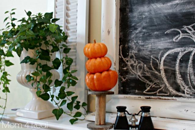 Pumpkin Topiary Ivy Shutters Chalkboard