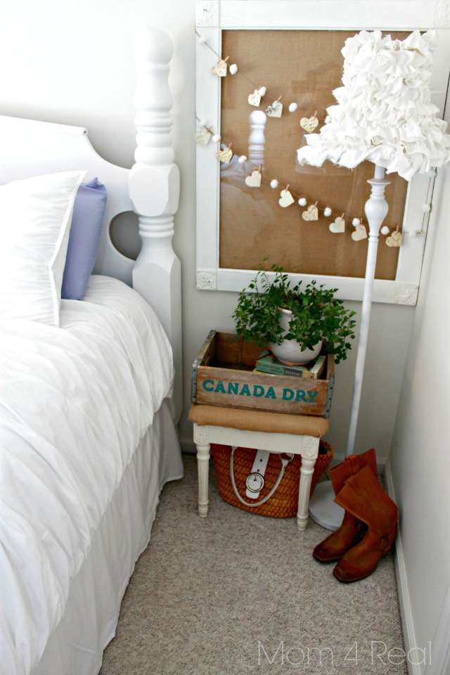 Shop your home for fun thrifted items to make a small side table vignet in a cramped space