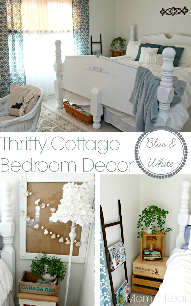 Thrifty Blue and White Cottage Bedroom Decor