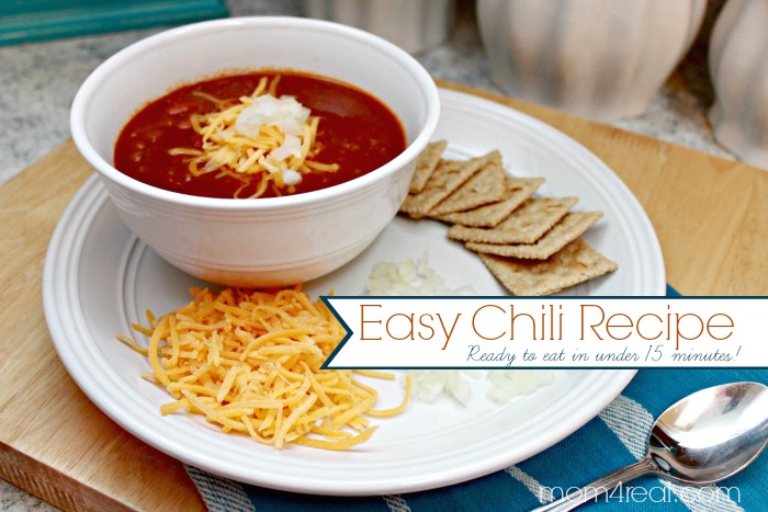 Easy Chili Recipe - Ready to eat in under 15 minutes!