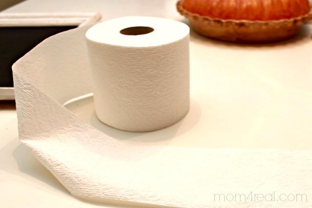 Use toilet paper to make mini rosette pumpkins