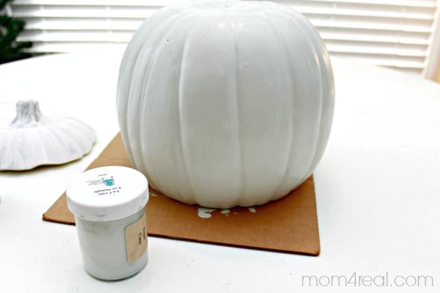 Aqua Painted Pumpkin Vase