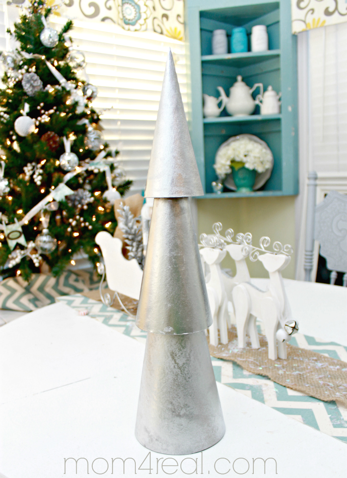 Beautiful Silver Stacked Christmas Trees from Paper Mache Cones