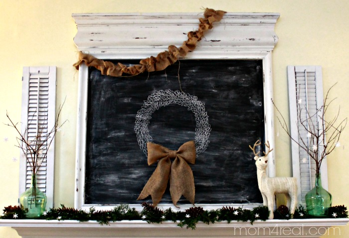 Chalkboard Christmas Mantel with Deer and Natural Touches