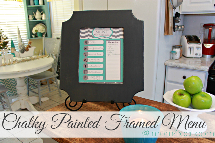 Chalky Painted Framed Menu at mom4real.com