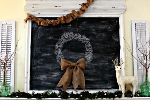 Christmas Mantel with Chalkboard