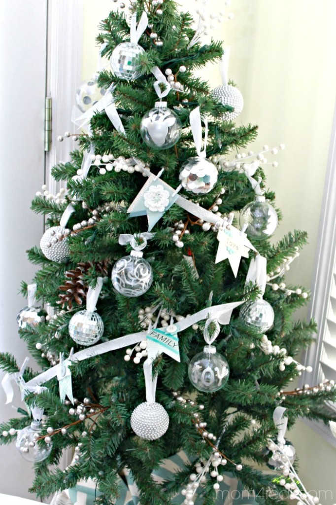 christmas tree with silver decorations