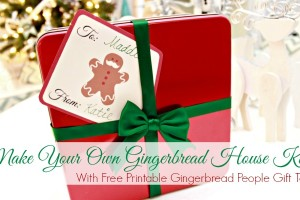 Create Your Own Gingerbread House Kit with Free Gingerbread People Printable Christmas Gift Tags