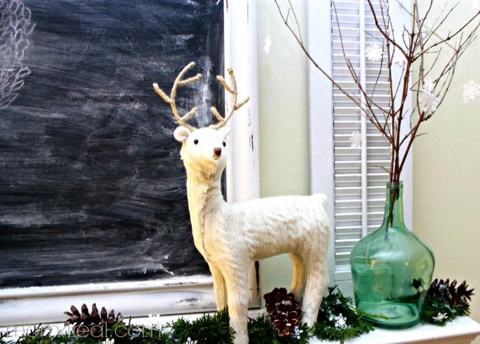 Deer on Christmas Mantel