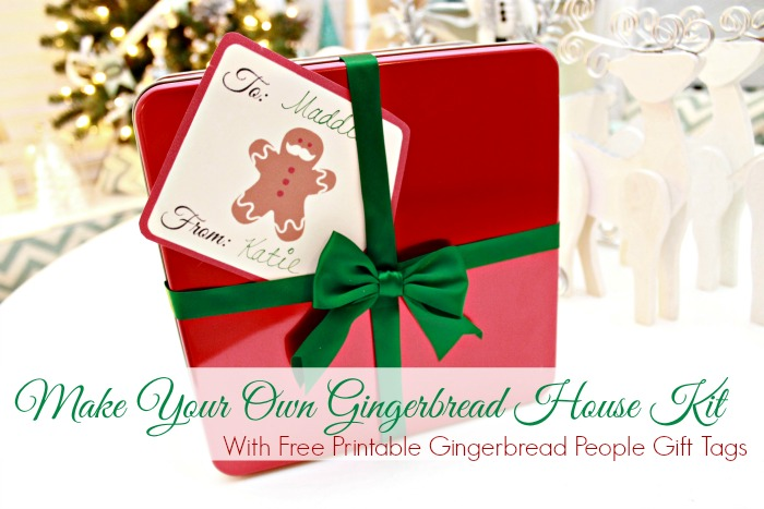 Make Your Own Gingerbread House Kit with Free Printable Gingerbread People Gift Tags #shop