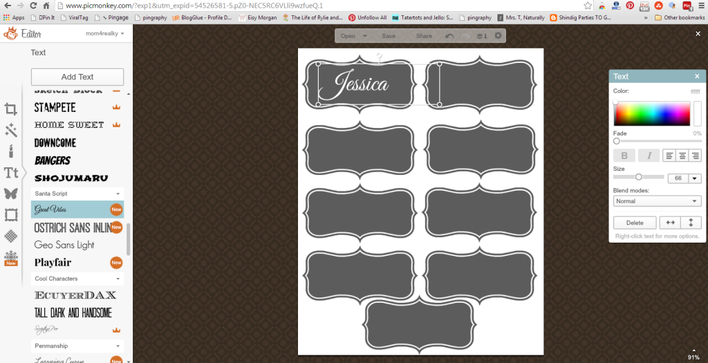 Picmonkey Place Cards Tutorial Adding Text