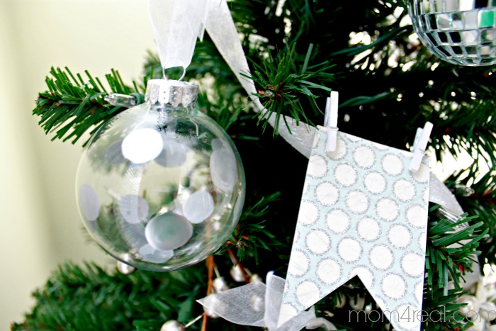 Polka Dot Silver Leaf Christmas Ornament