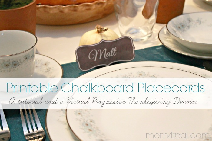 Printable Chalkboard Placecards a Tutorial and a Virtual Progressive Thanksgiving Dinner