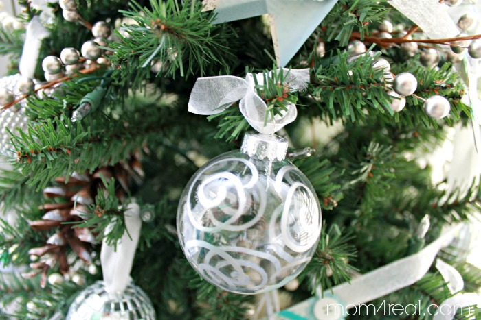 Swirled Silver Leafed Christmas Ornament