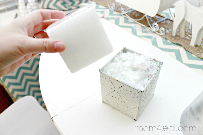 Use a styrofoam block for stability when making a topiary