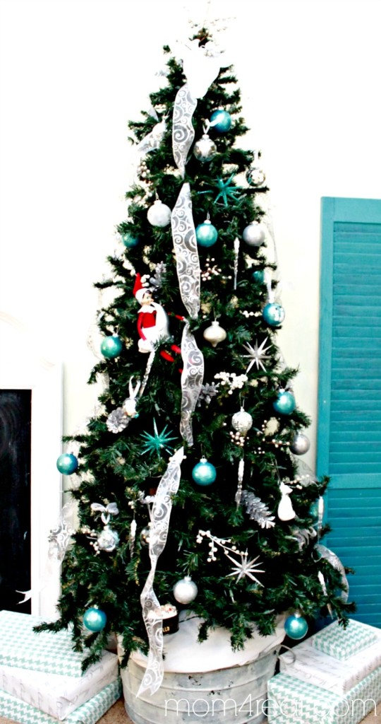 Christmas Tree with Aqua and Silver Touches