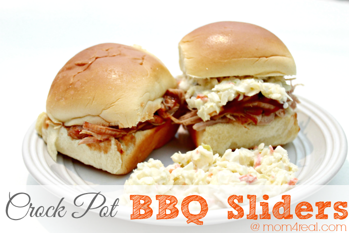 Easy Pulled Pork BBQ Sliders Made In a Crock Pot or Slow Cooker ( Barbecue ) at mom4real.com