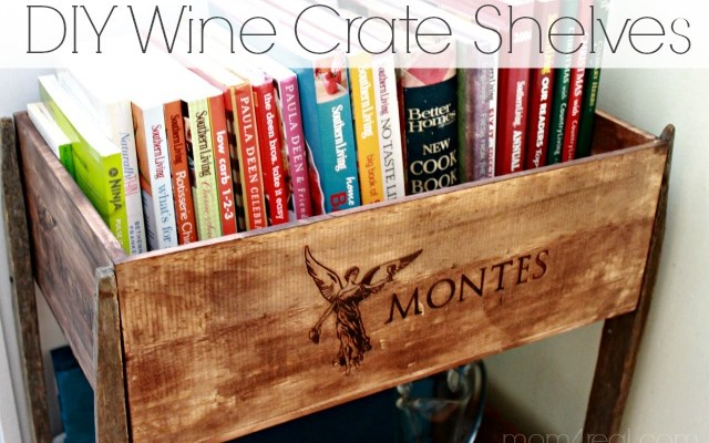 DIY Wine Crate Shelves