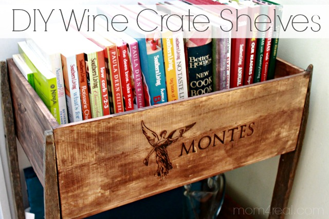 Diy wine crate shelves an announcement mom 4 real for Diy wine crates