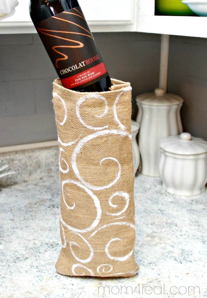 Give the gift of wine - make a stenciled burlap gift bag. #shop