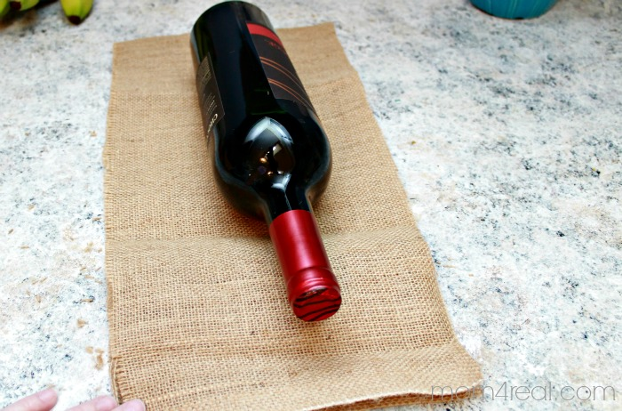 How to make a burlap wine gift bag. #shop