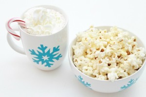 Stenciled Snowflake Hot Cocoa Mug and Popcorn Bowl