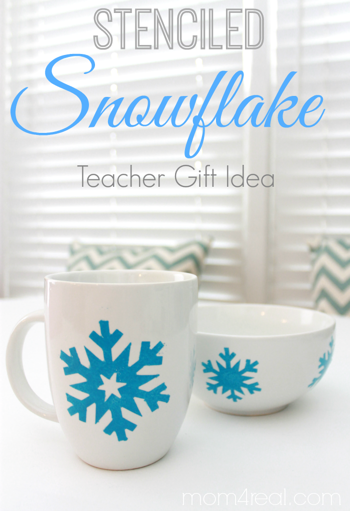 Stenciled Snowflake Teacher Gift Idea #shop